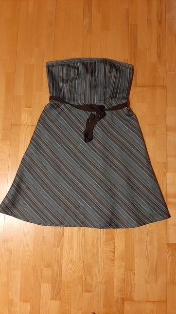Sukienka ANN TAYLOR LOFT rozm.14 wesele, ślub, paski, vintage, gorset