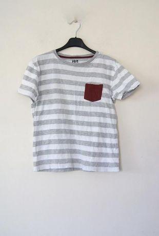 szary t-shirt w paski z kieszonka szara bluzka crop top 3/4 36 S 38 M
