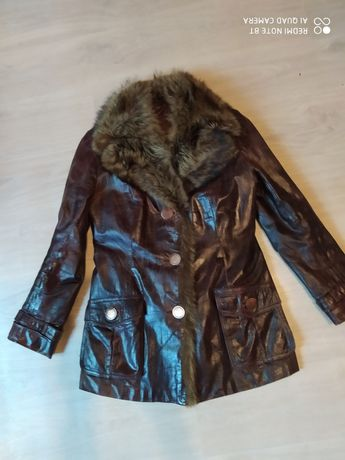 Куртка кожаная бордовая