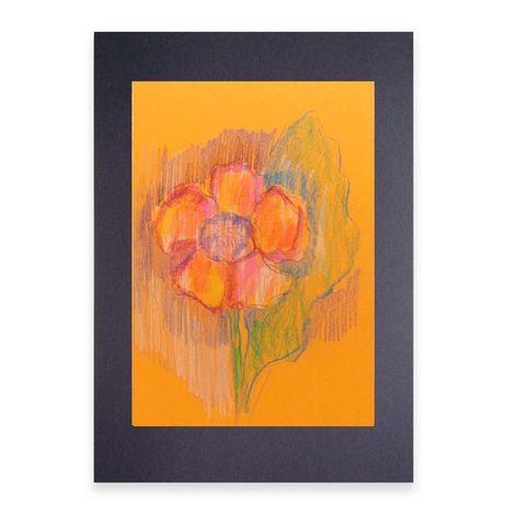 kwiat rysunek do pokoju,kolorowy obraz z kwitakiem,obraz ciepłe koloro