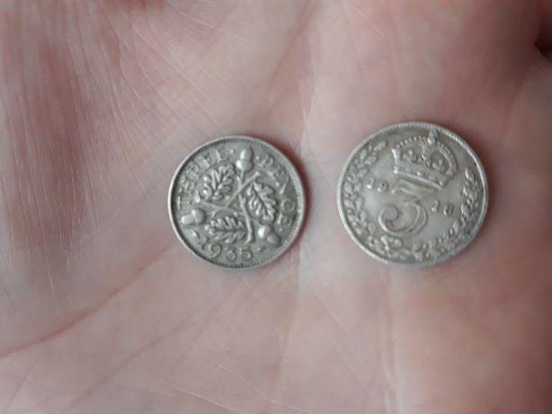 three pence jedna z 1916r. druga 1935r.