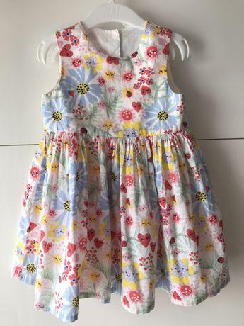 Sukienka letnia bawełniana H&M r. 92. , kwiaty