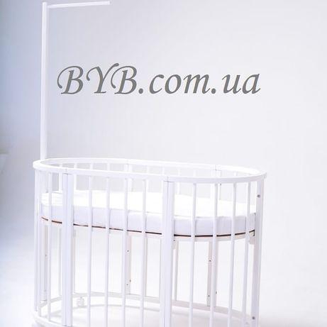 Полный комплект с матрасами!Овальная детская кроватка -трансформер 8в1