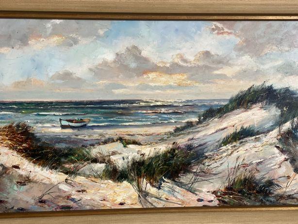 Fenomenalny obraz olejny widok na wydmy i morze