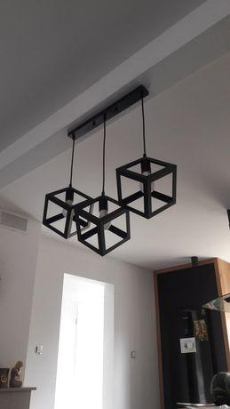 Lampa potrójna czarna loftowa metalowa