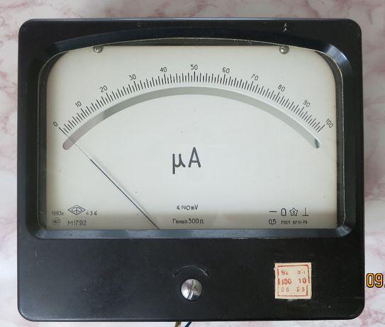 Микроамперметр M1792 с зеркальной шкалой на 100 мкА