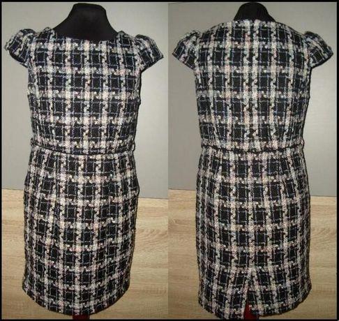 ciepła sukienka 40 kieszenie wiosna, jesień, zima kratka