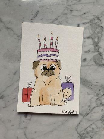 Kartka okolicznościowa urodzinowa mops mopsik pig pies prezent tort