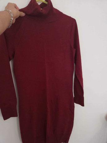 Golf NOWY długi sweterkowy tunika swetr sukienka 40 bordowy