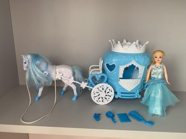 Карета с лошадью кукла barbie frozen elza барби принцеса ельза