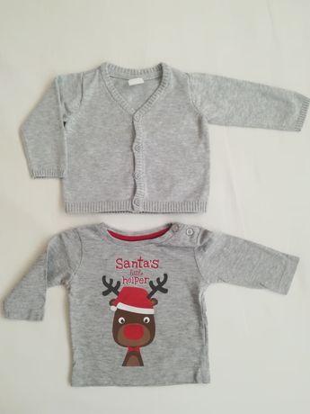 Sweterek h&m święta i bluzka renifer