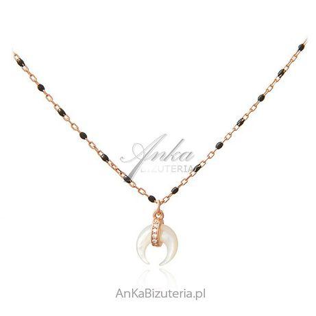ankabizuteria.pl Srebrny naszyjnik pozłacany różowym złotem z czarną e