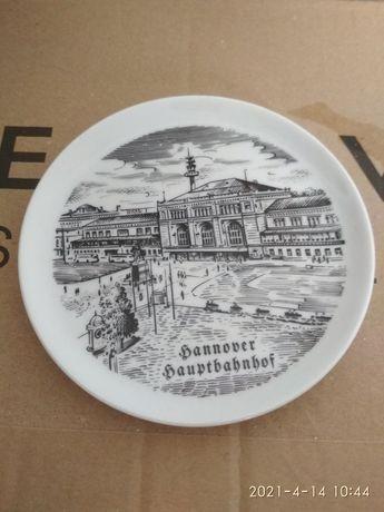 Talerzyk z rysunkiem  Dworca w Hanowerze
