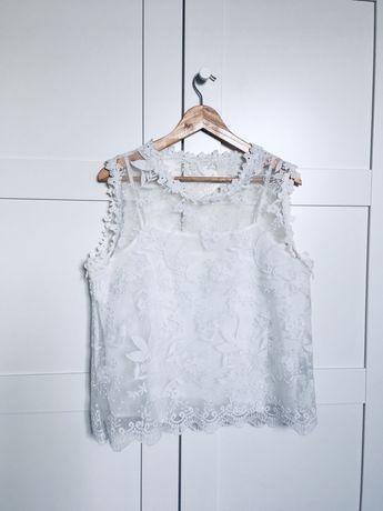 Asos biała koronkowa bluzka top siateczka L 40