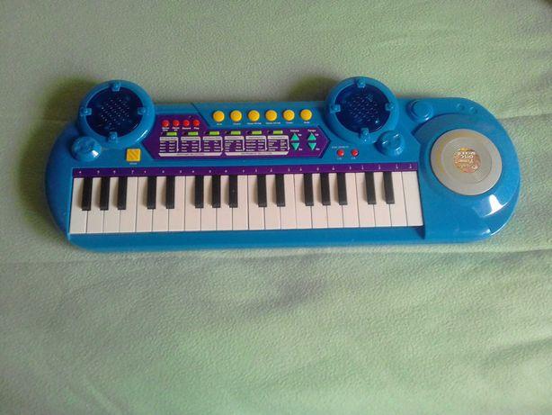 Piano brinquedo com 37 teclas, azul