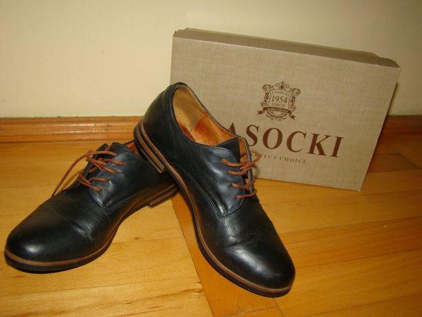 skórzane buty damskie, granatowe mokasynki LASOCKI - skóra naturalna