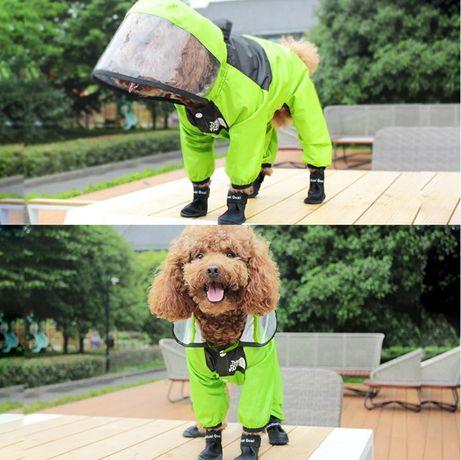 Primavera/verão cão com capuz capa de chuva animal estimação gato maca