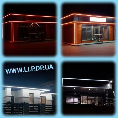 Подсветка фасадов домов заправок автомоек светодиодным неоном лентой
