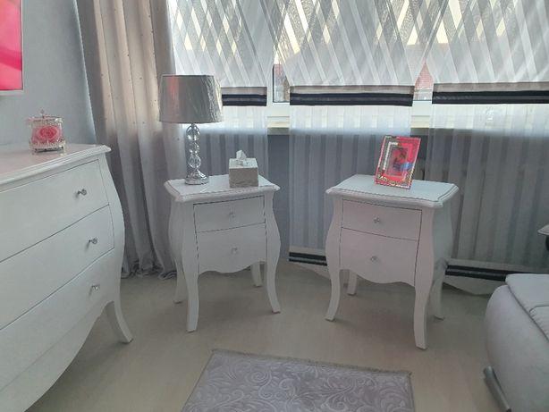 Komoda szafka sypialnia połysk biała glamour