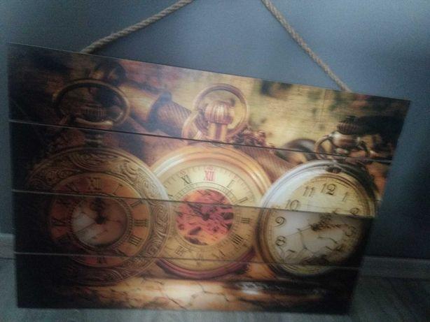 Obraz zegary nowy drewno duży stylowy obrazek