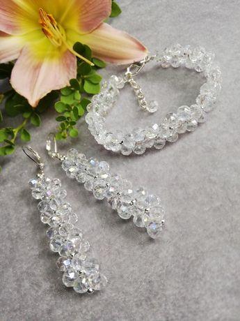 Biżuteria ślubna komplet biżuterii Crystal AB bransoletka kolczyki