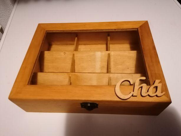Caixa de chá em madeira