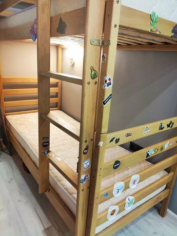 Двухъярусная кровать Дуэт 190Х80 из бука с матрасами как новая
