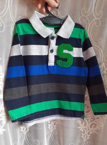 Кофта поло с длинным рукавом на мальчика, размер 1,5-2 года