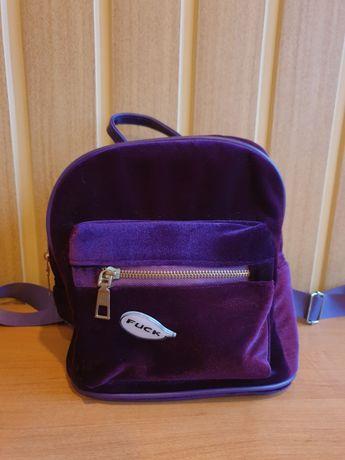 Миниатюрный фиолетовый рюкзак из вельвета