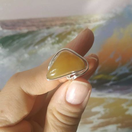 Кольца ручной работы c натуральным Янтарем