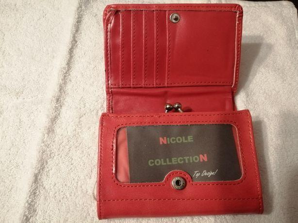 Portfel Nicole czerwony nowy ekoskóra -przesyłka 1 zł do dn. 04.12