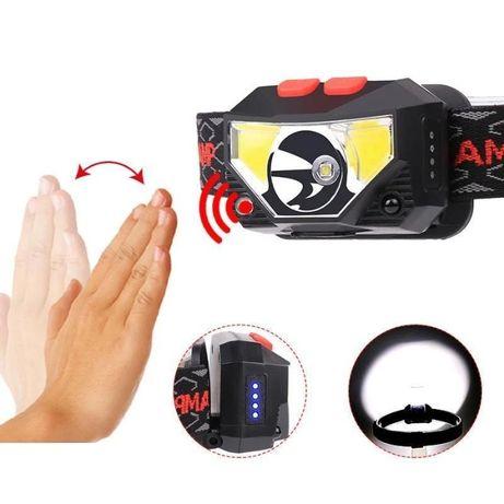 Налобный фонарь X826A c датчиком движения 6 режимов, XPG+2*COB LED