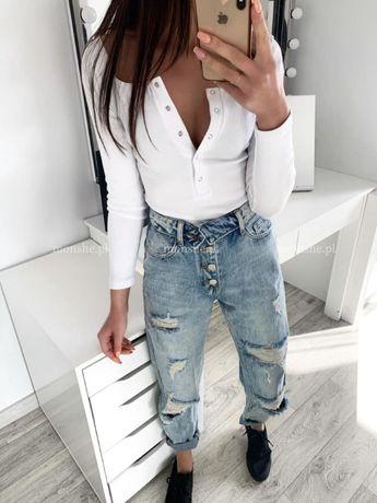 Spodnie jeansowe mom jeans z przetarciami S M L