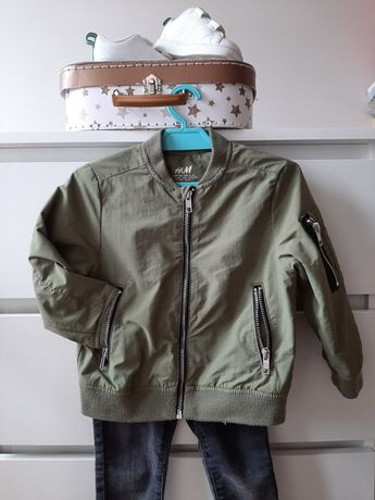Bomberka flek hm 98 khaki na 2-3 lata kurtka zielona wojskowa suwaki