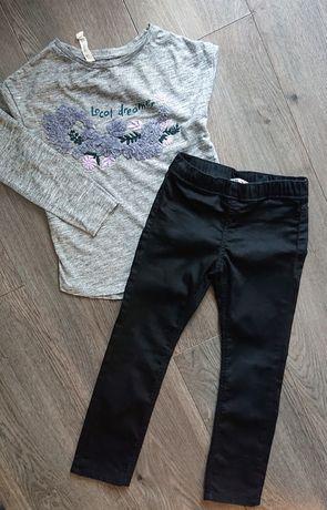 Zestaw nowy: bluzka mango i spodnie tregginsy jegginsy h&m, r. 116