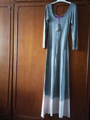Платье в пол boohoo р.44 р.46 серое розовое вискоза