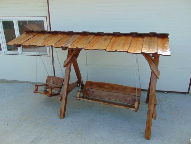 Huśtawka ławka meble ogrodowe drewniane dekoracje ogrodowe