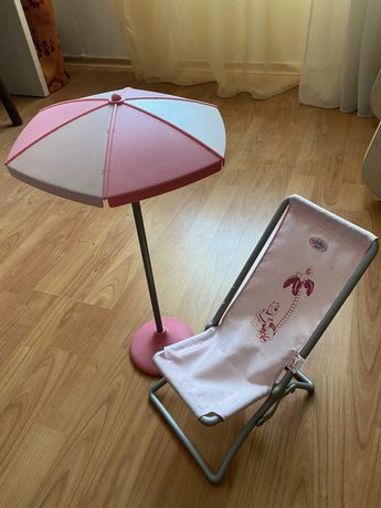 Baby born пляжный стульчик и зонтик оригинал