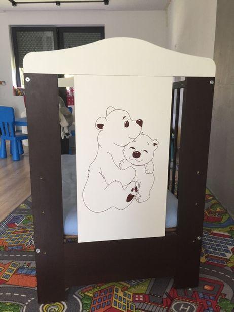 Łóżeczko dziecięce szuflada, materac gryka 120x60