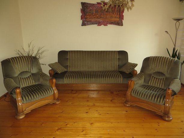 wersalka + fotele z drewnem ! bardzo dobry stan !