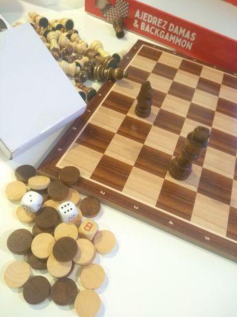 Conjunto Oferta | Tabuleiro, peças madeira Xadrez/Damas, Jogo Novo