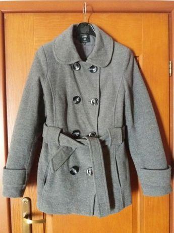 Płaszcz płaszczyk palto kurtka wełna krótki pasek ciepły zima szary