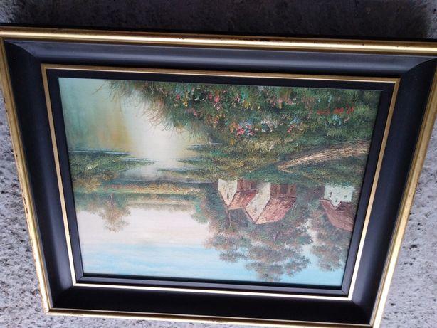 Stary obraz 55 cm na 43 cm na plutnie