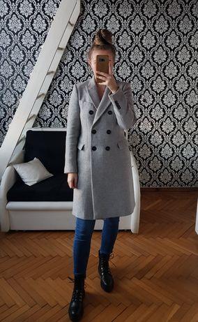 ZARA nowy płaszcz wełniany szary wełna dwurzędowy dyplomatka ciepły XS
