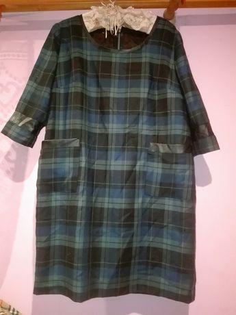 Sukienka tunika w kratę kratka a la skora zip 44 46