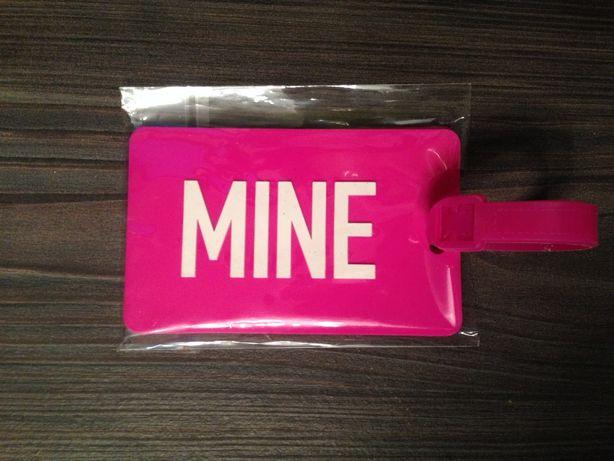 identyfikator zawieszka etykieta bagażu MINE różowy gumowy nowy