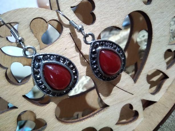 Камень сердолик, серьги серебряные покрытие, серьги капельное серебро
