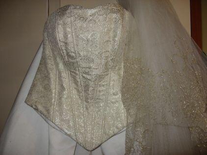 Sprzedam suknię ślubną gorset bez ramiączek ecri + welon dł
