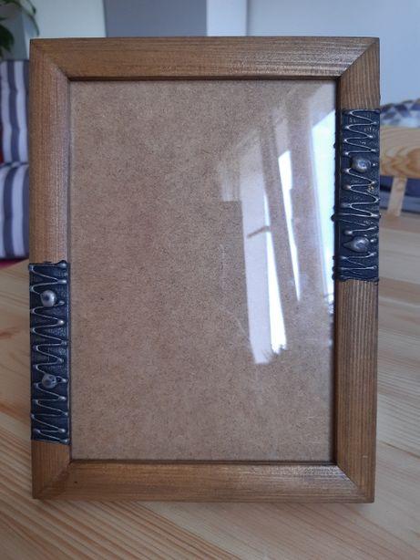 Ramki drewniane, malowane, ręcznie zdobione, 5 sztuk, 15*21 i 21*30