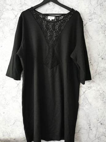 Czarna elegancka sukienka koronka rozmiar 52 54 56